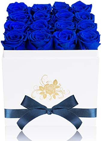 Perfectione Roses Luxury Preserved Roses in a Box, Royal Blue Real Roses Romantic Gifts for Her Mom Wife Girlfriend Anniversary Mother's Day Valentine's Day Christmas(White Large Square Box)