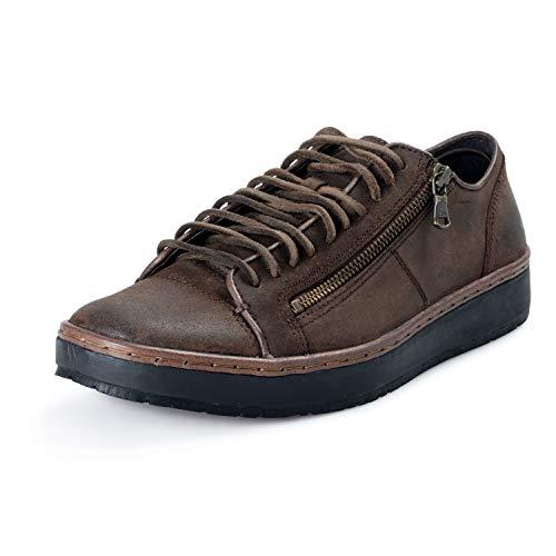 John Varvatos Star USA Men's Leather Barrett Creeper Zip Low Casual Shoes US 10.5 IT 44 Brown