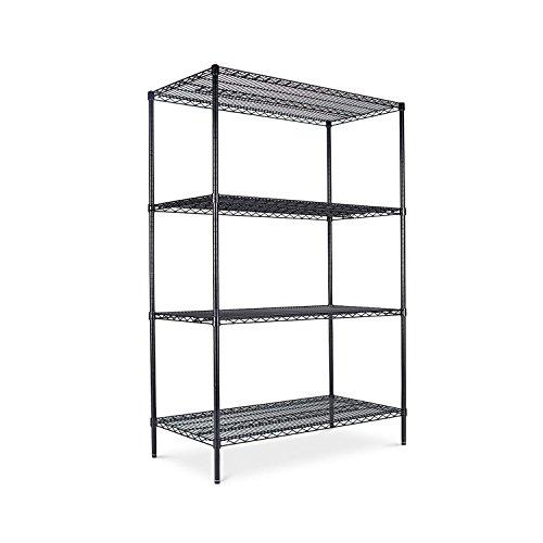 alera-sw504824bl-industrial-wire-shelving-starter-kit-4-shelves-48w-x-24d-x-72h-black