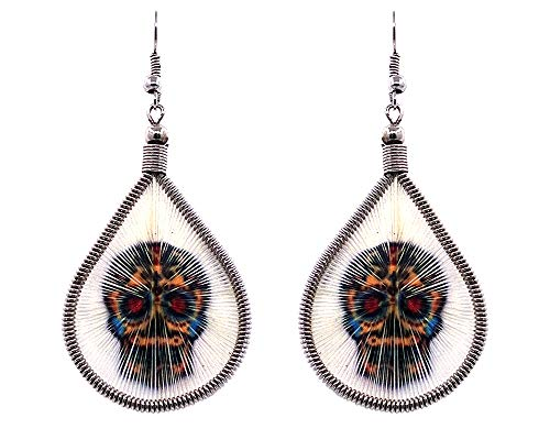 Mia Jewel Shop Day of The Dead Sugar Skull Graphic Teardrop Thread Dangle Earrings (White/Golden/Multicolored)