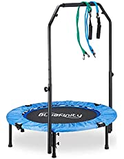 Bluefinity Trampoline met stang, mini-trampoline opvouwbaar, expander & tas, klein, h x b x d: 121 x 102 x 102 cm, blauw/zwart