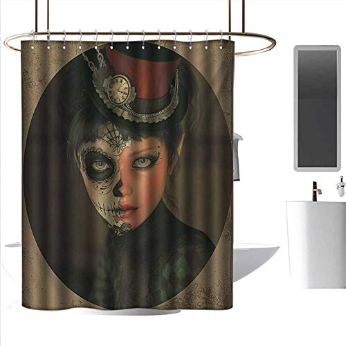 bathroom decor sets with shower curtains and s black and white Sugar Skull,Antique Portrait Girl with Calavera Inspired Makeup and Topper Realistic Design,Multicolor ,W72
