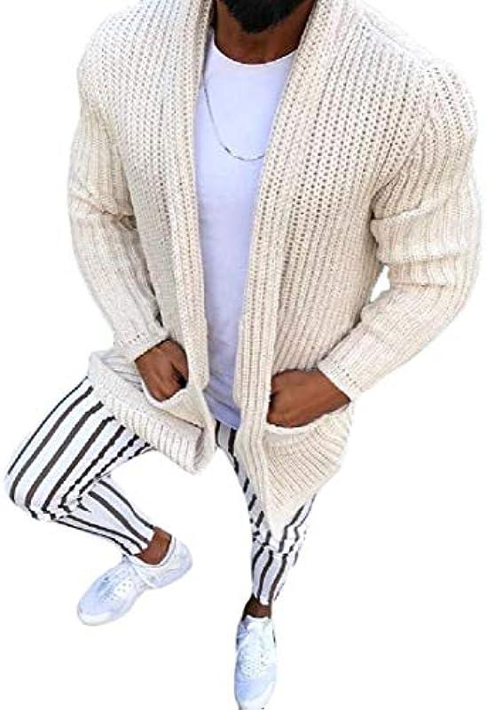 GRMO Men's Slim Fit Lapel Knitted Autumn Winter Open-Front Cardigan Sweater Coat: Odzież