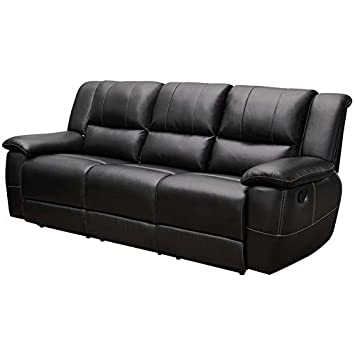Amazon.com: BOWERY HILL Faux Leather Reclining Sofa with ...