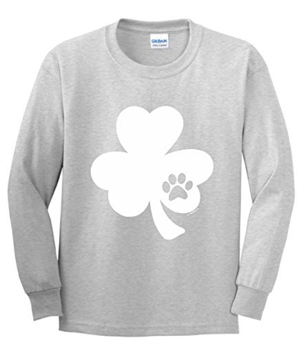 ThisWear Funny ST Patricks Day Shirt ST Pattys Day Pawprint Shamrock Dog or Cat Lover ST Patricks Day Youth Long Sleeve T-Shirt Small - Print Calendar Shamrock