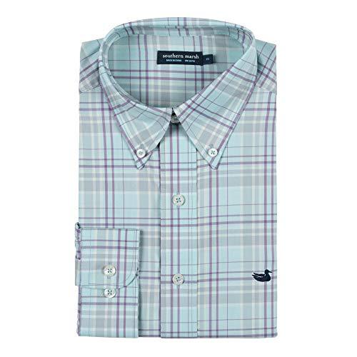 Southern Marsh Men's Louisville Performance Windowpane Long Sleeve Shirt, Sage/Light Blue, X-Large ()