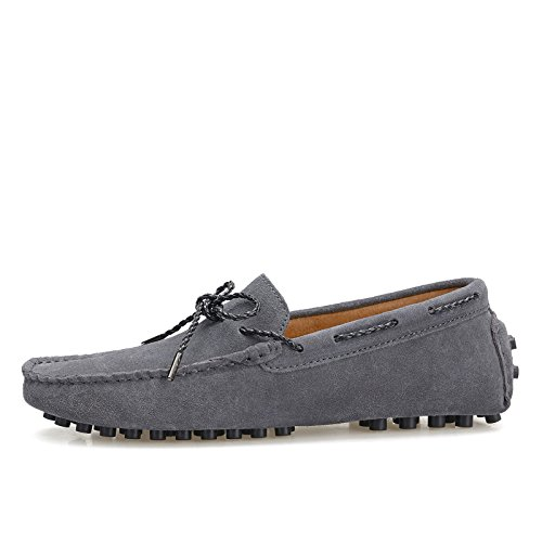 Abby 9388 Mens Slip-on Cloed toe Comfort Casual Natty Loafers Smart Driving Leather Sneakers Grey oJbkzH6x