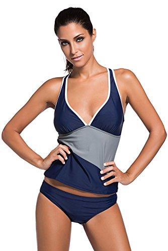 Nuovo navy a blocchi di colore con scollo a V 2PCS costumi da bagno tankini set bikini estivo da bagno imbottito taglia UK 8EU 36