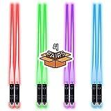LED Lightsaber Reusable Chopsticks Multi-Color Modes   4 Pairs   8 Color Modes