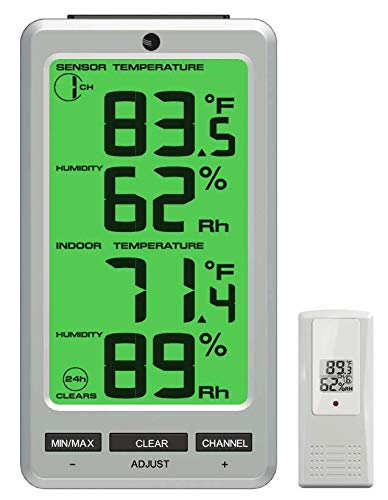 Ambient Weather WS-23 Big Digit 8 Channel Wireless Thermo-Hygrometer