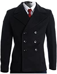 Mens Winter Double Breasted Pea Coat Short Jacket