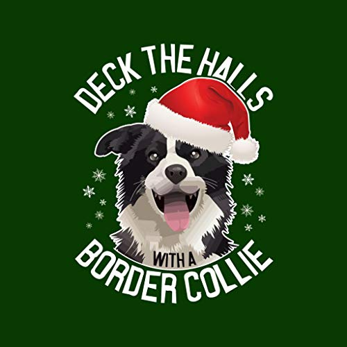 Christmas Sweatshirt Bottle The Deck Hooded A Border Green Women's With Collie Halls 11pwxH