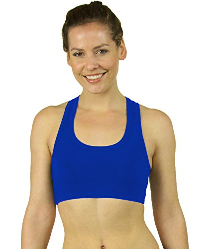 Stretch is Comfort Cotton Sports Bra Royal Blue Small