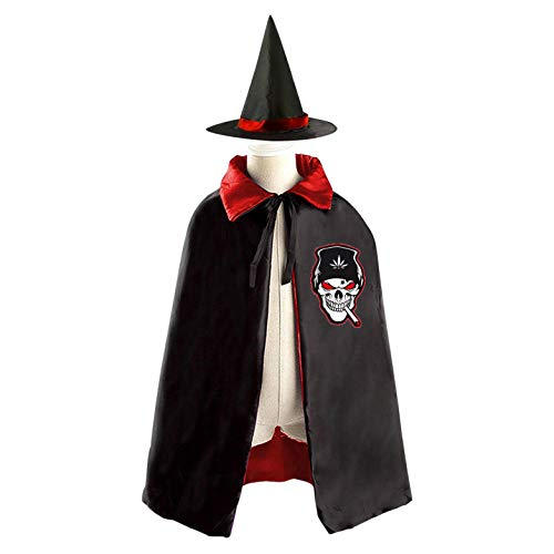 (69PF-1 Halloween Cape Matching Witch Hat The Skull with a Hat Wizard Cloak Masquerade Cosplay Custume Robe Kids/Boy/Girl Gift)