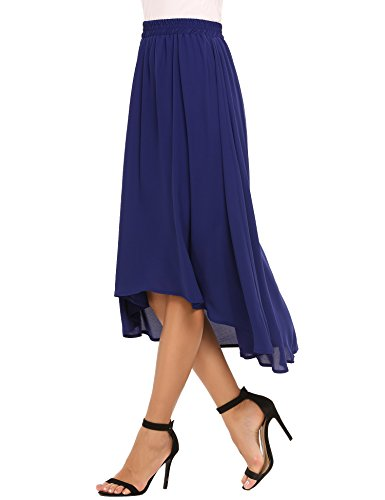 Zeagoo Elastic Waist Summer Chiffon Skirt Flowy High Low Skirt For Women