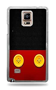 Trendy Accessories Yellow Buttons on Red Leather Design Print Clear Hardshell Case for Galaxy Note 4