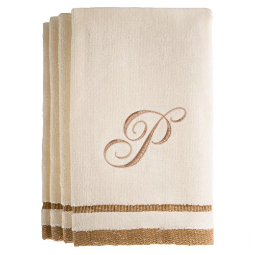 Monogrammed Gifts, Fingertip Towels, 11 x 18 Inches - Set of 4- Decorative Golden Brown Embroidered Towel - Extra Absorbent 100% Cotton- Personalized Gift- For Bathroom/ Kitchen- Initial P (Ivory)