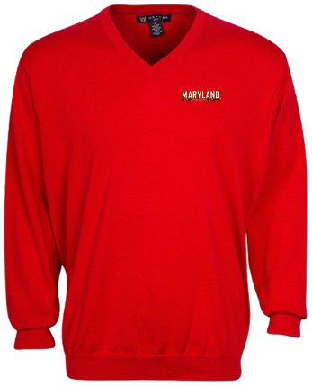 Oxford NCAA Maryland Terrapins Men's Devon V-Neck Sweater (Flag Red, X-Large) by Oxford