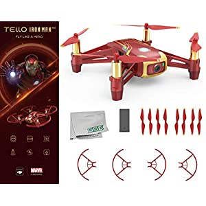 Ryze Tello Iron Man Edition Quadcopter Drone with HD Camera and VR – Powered by DJI Technology and Intel Processor Starters Bundle 415D44 2B3pnL