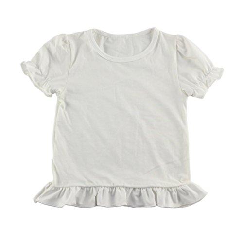 Wennikids Baby Girls' Cotton Ruffle Short Sleeve Top T-shirt 1-5T Medium - Short Shirt Ruffle Sleeve