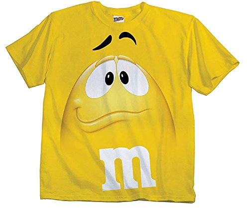 M&M's Candy Yellow Silly Character Face Adult T-Shirt