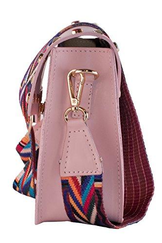 BORDERLINE - 100% Made in Italy - Mujer bolso de cuero con tachuelas y pequeña correa de hombro de colores - ARIANNA Rosa