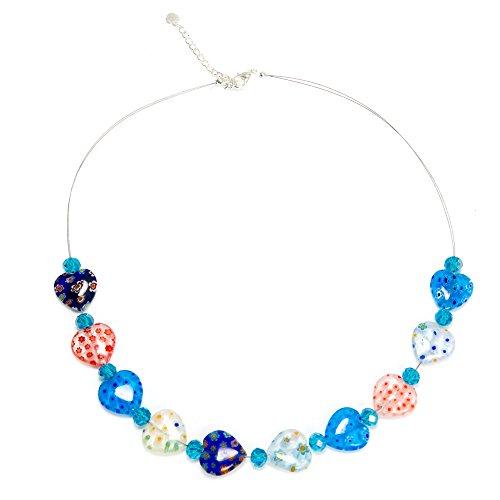 Chuvora Multi-Colored Venetian Murano Glass Millefiori Heart Shaped Crystal Beads Necklace ()