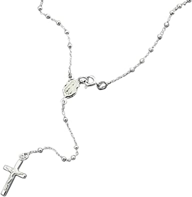 Rose and Yellow Rosary Pendant Necklace Charm Chain Solid 925 Sterling Silver White