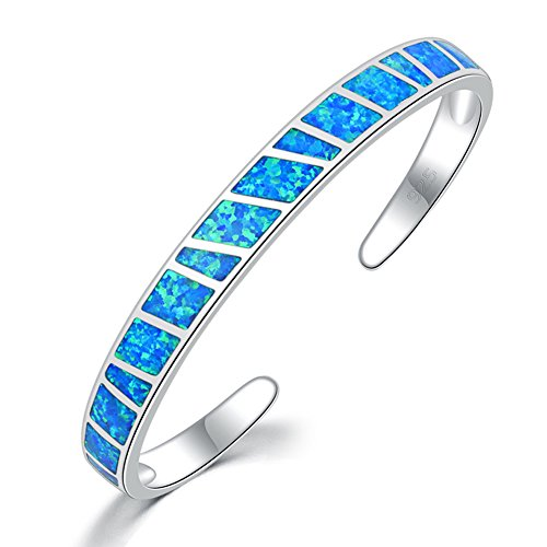 CiNily Womens Cuff Bracelet-Blue Opal Bangle Bracelets White Gold Plated Hypoallergenic Birthstone Bracelets Ladies Gemstone Bangle Bracelet