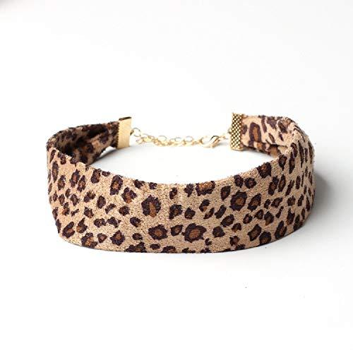 - TIDOO Jewelry Suede Sexy Leopard Choker for Women (Khaki)
