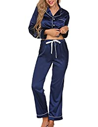 Ekouaer Women's Satin Sleepwear Long Sleeve Two Piece Pajama Set S-XXL