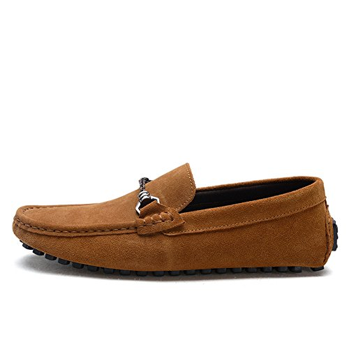 Tentoes Mens Scarpe Da Guida Suede Mocassino Slip-on Marrone