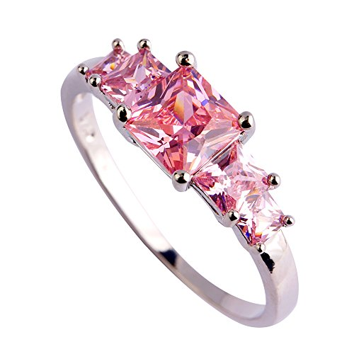 Psiroy-925-Sterling-Silver-Delicate-Ladys-Princess-Cut-Peridot-5-Stone-Filled-Ring-Size-6-7-8-9-10