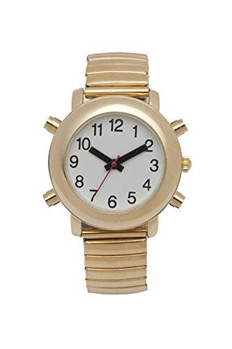 LS&S White Face Gold Flex 4-Button Male Voice Talking Watch - (Gold 4 Button Talking Watch)