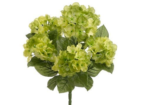 17.5 Garden Hydrangea Bush x5 Two Tone Green (Pack of 12) by Silk Decor