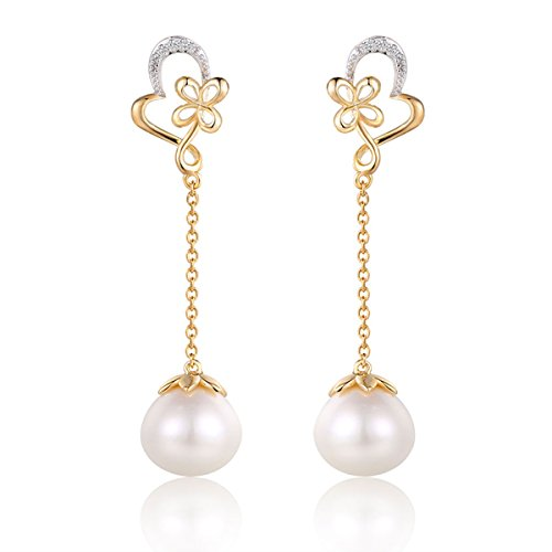 14K Gold Plated Sterling Silver Cultured Freshwater Pearl Drop Dangle Earrings for Women Hypoallergenic (Heart of Ocean) (Pearl Sterling Mounting Silver Freshwater)