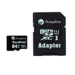 64GB Micro SD SDXC Memory Card Plus Adapter Pack (Class 10 UHS-I U1 MicroSD XC Extreme Pro) 64 GB Ultra High Speed 90MB/s 600X Read UHS-1 MicroSDXC Flash. Amplim Cell Phone Tablet Camera 64G TF