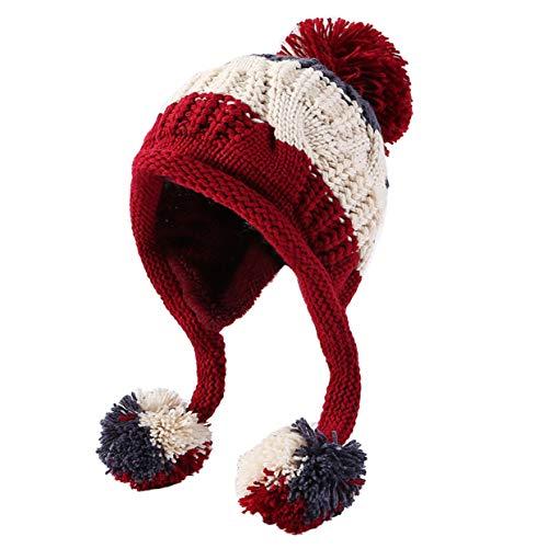 5fc220a560e HUAMULAN Women Winter Peruvian Beanie Hat Ski Cap Fleece Lined Ear Flaps  Dual Layered Pompoms