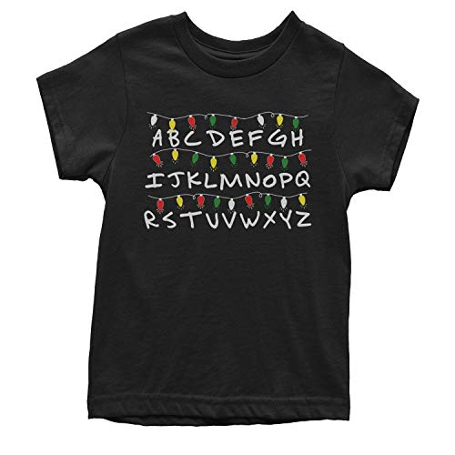 (Motivated Culture Youth Alphabet Stranger Christmas Lights T-Shirt X-Small Black)
