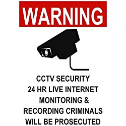 """BuildASign Warning CCTV Security 24 Hour Live Internet Monitoring & Recording Safety Sign- 10"""" x 7"""", Decal"""