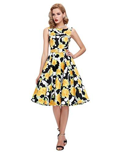 De Años nbsp;Fiesta Vestidos Vintage Mujeres Poque® bp02 Swing 11 Floral de Cócteles 50 Belle qwX1UYtxB
