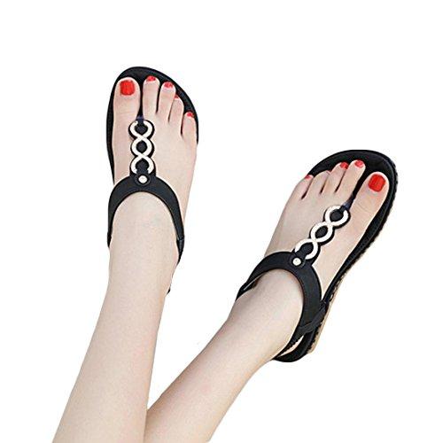 Shybuy Women Sandals, Women Summer Clip Toe Flats Sandals Beach Flip-Flop Herringbone Shoes (5, Black) by Shybuy