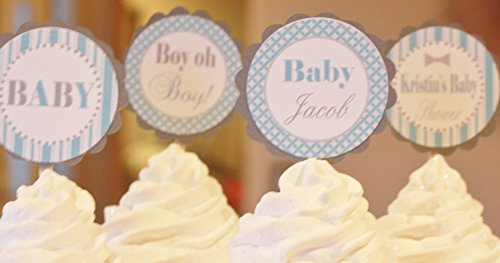 Bowtie or Necktie Baby Shower Cupcake Toppers Little Man Mustache Favor Tags Party Packages Door Signs Available Green /& Blue 12 Banners