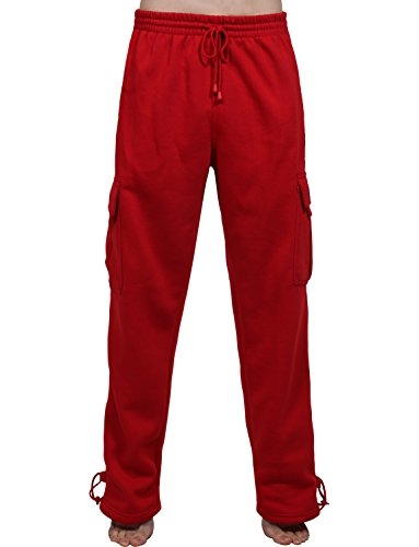 - J. LOVNY Mens Comfy Elastic Drawstring Fleece Cargo Sweat Pants-JLMP17-RED-M