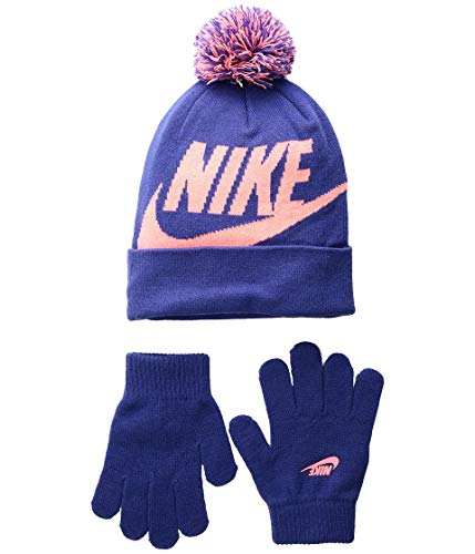 Kids' Nike Swoosh Pom Beanie Hat and Gloves Set (4/6X, Rush Violet(3A2695-P4E)/Lava Glow)