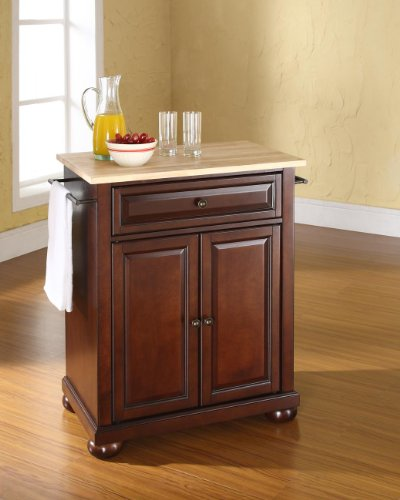 Crosley Furniture Alexandria Cuisine Kitchen Island with Natural Wood Top - Vintage Mahogany by Crosley Furniture