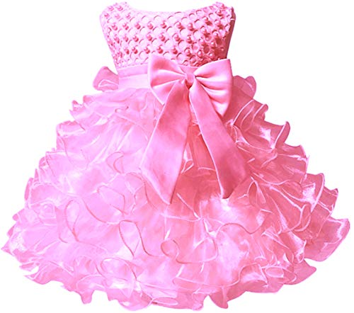 Jup'Elle, Baby Girl Party Dresses Ruffle Lace Pageant Wedding Flower Little Girl Dress, Margarite Pure Pink, 6-12 Months