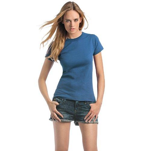 New B y C 190 Exact para mujer de manga corta T-camiseta de manga corta Plain en la parte superior y traje de neopreno para mujer cuello redondo camiseta para hombre morado