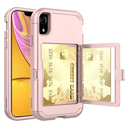 iPhone XR Case (2018), Hidden Door Slim Wallet Case, Fits 2 Cards and Cash, Reinforced Drop Bumper Protection, Open Mirror, Front Frame Screen Protection - Rose Gold