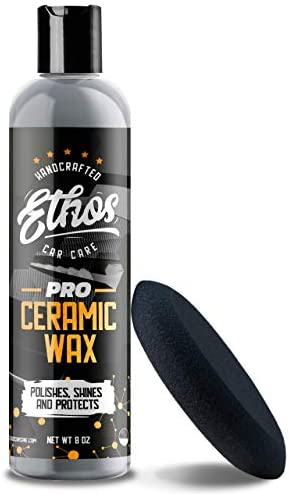 Ethos Handcrafted Car Care Ceramic Wax PRO – Aerospace Coating Protection | Ceramic Polish and Top Coat | Deep Mirror Shine | Slick, Hydrophobic Finish – Applicator Included